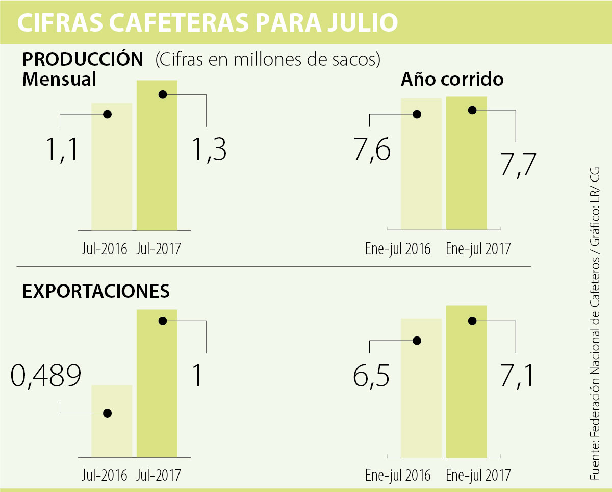 Producción de café en julio creció un 25%