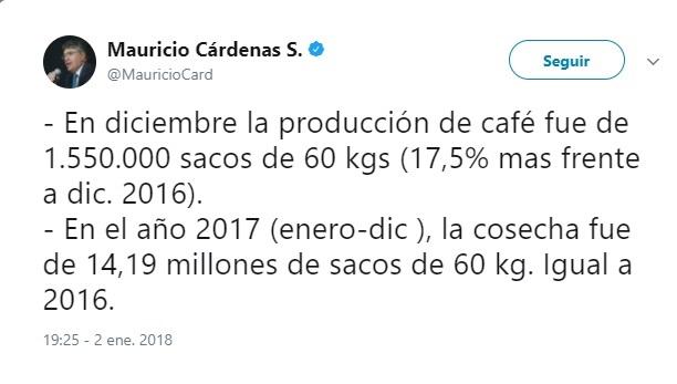 Colombia cerró con 14,2 millones de sacos el 2017